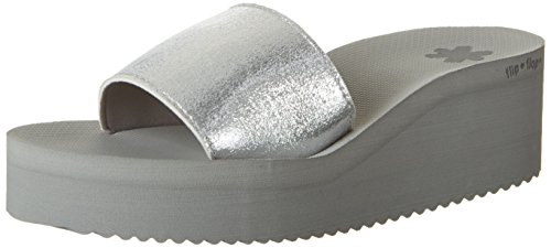 flip*flop Damen poolwedge metallic Plateausandalen, Silber (Silver), 39 EU