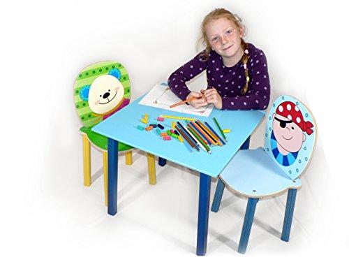 Hess Jouet en bois 30204 – Table pour enfants en bois, bleu, env. 50 x 50 x 42 cm