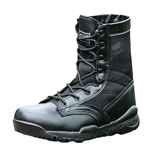 LANTUI Botas tácticas de Combate Militar Transpirables Ligeras para Hombre, Zapatos de Escalada de Verano, Botas de Trabajo de Cuero para Senderismo,Black-38