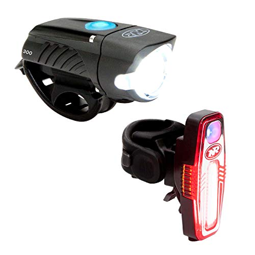 NiteRider Swift 300 Front Bike Light Sabre 110 Rear Bike Light Combo Pack- USB Rechargeable Bicycle Headlight LED Front Light Easy to Install Water Resistant Road Commuting Cycling Safety Flashlight