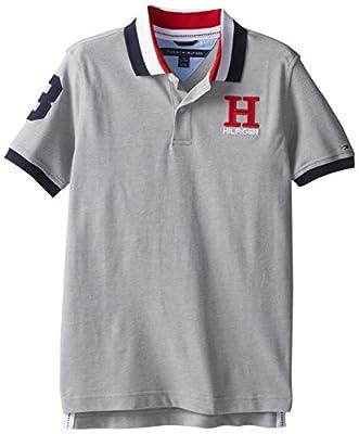 Tommy Hilfiger Big Boys' Short Sleeve Matt Polo Shirt, Grey Heather, Medium