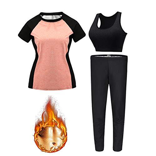 KUMADAI Pantalones Sauna Adelgazantes Mujer, Leggings for Women Recolección de Calor rápido Adopta Fibra De Poliamida Silver Helen DiseñO De Costura Inodoro L