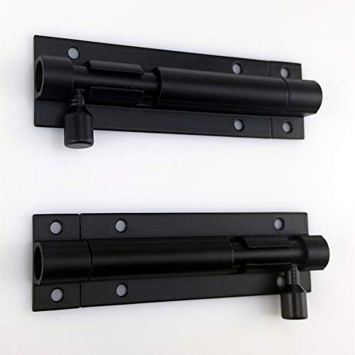 Firefly-Web 2 Pack Black Door Latch Lock Slide Bolt, Solid Aluminium Door Barrel Bolts Latches, Security Sliding Latch Lock with 12 Screws (Black)
