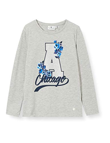 TOM TAILOR Mädchen Langarmshirt T-Shirt, Drizzle Melange|Gray, 128