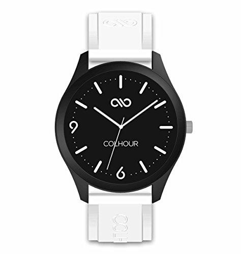 Colhour Watches - Orologio da polso unisex con cinturino in silicone, progettato e realizzato in Spagna e movimento giapponese Miyota by Citizen. Unisex 41mm diámetro bianco