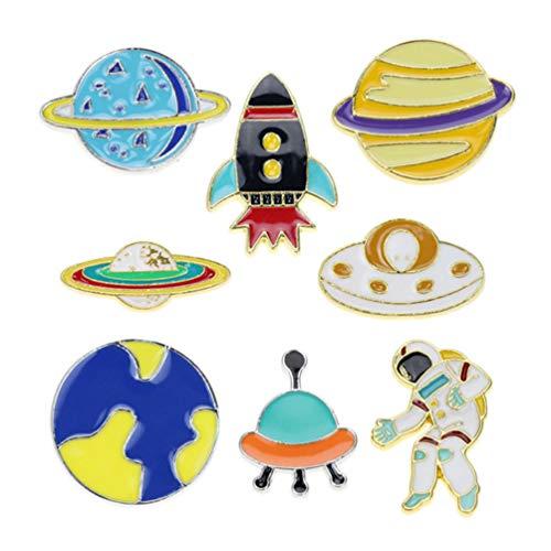 TENDYCOCO 8 Stück Cartoon Emaille Pins Raumfahrer Rakete Raum Luft- Und Raumfahrt Patch Abzeichen für Kleidertaschen Kind Geburtstagsfeier Begünstigt Geschenke