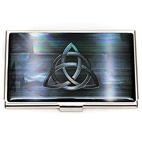 MADDesign Mother of Pearl Celtic Knot Black Business Credit Card Case Id Holder Mini Wallet
