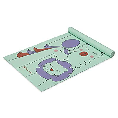 """Gaiam Kids Yoga Mat Exercise Mat, Yoga for Kids with Fun Prints - Playtime for Babies, Active & Calm Toddlers and Young Children, Animal Surprise, 3mm, 60"""" L x 24"""" W x 3mm Thick"""