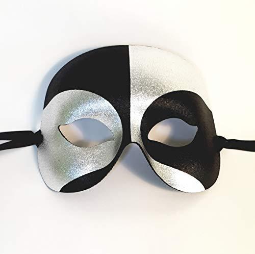 Schwarze und silberne Maskenball-Maske für Herren - Überlegene italienische Qualität von Samantha Peach