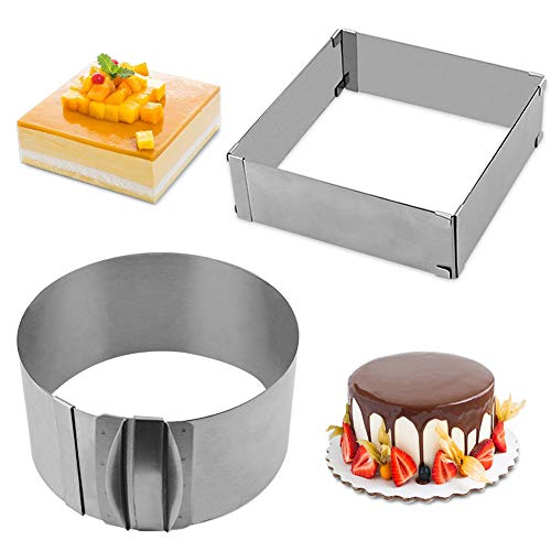 Cyimi Adjustable Cake Mould Stainless Steel 6 to 12 Inch Cake Mousse Ring, Thickened Cake Ring Mould Set of 2 for Baking (Round+Square)