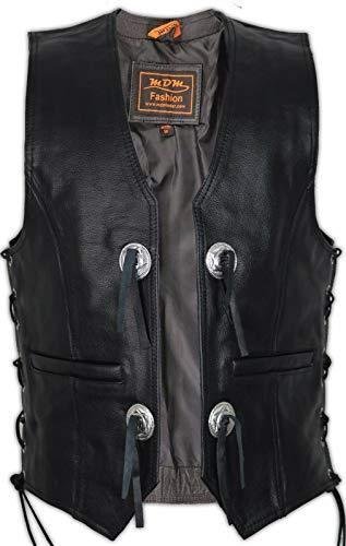 MDM Conchos Lederweste in schwarz aus echtem Leder (XL)