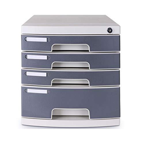 Ablagesystem für den Schreibtisch Vier-Schicht/Fünf-Schicht-Desktop mit Sperre Aktenschrank Aktenhalter Büromaterial (grauweiß) Ordner-Ablagesysteme (Color : A)