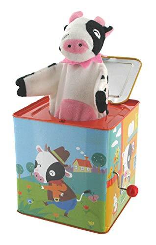 Lutèce Créations Diable en boîte Musical / Diable à Ressort / Jack-in-The-Box en métal chromolithographié avec boîte à Musique à manivelle et Vache en Tissu (Réf: 1439) - Pop! Goes The Weasel
