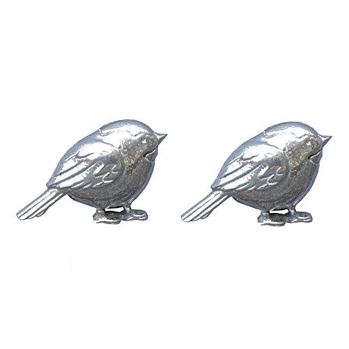 Boutons de Manchette Oiseau Rouge Gorge en Etain Fin - Fabrication Francaise