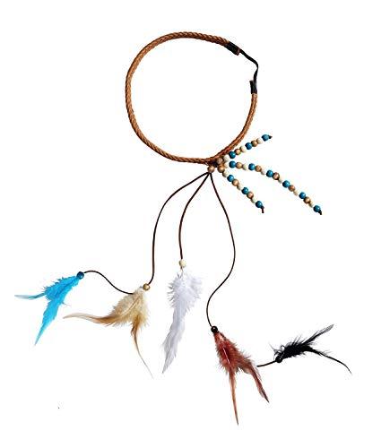 shoperama Diadema trenzada con plumas y perlas de madera, india hippie festival, accesorio para disfraz.