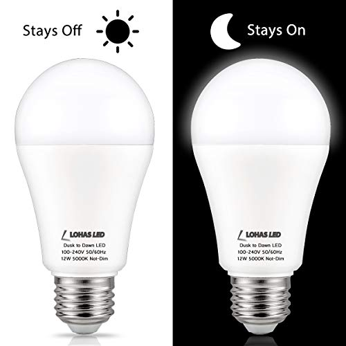 LOHAS Dusk to Dawn LED Outdoor Lighting, 12W(100Watt Equivalent) Smart Sensor Light Bulbs Daylight 5000K, A19 LED Bulb E26 Automatic On/Off Security Yard Lights, Perfect for Porch Garage Patio, 2 Pack