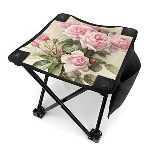 End Nazi Camping Hocker Klappstühle Vintage Shabby Chic Pink Rose Blumen tragbarer Stuhl Sitz