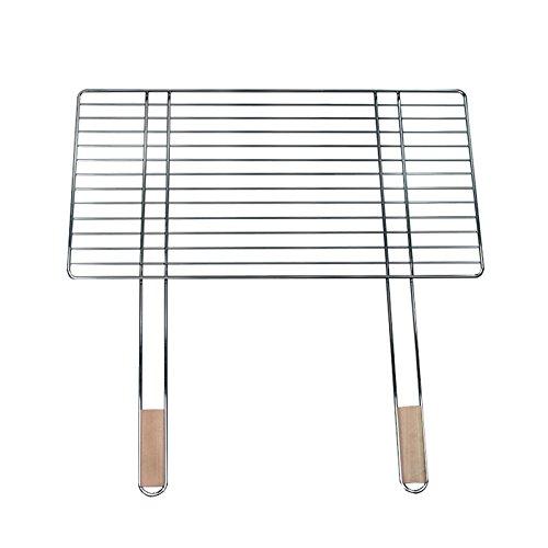 4U-Onlinehandel Parrilla 68 x 40 cm Con 2 asas de madera acero cromado parrilla parrilla para óxido