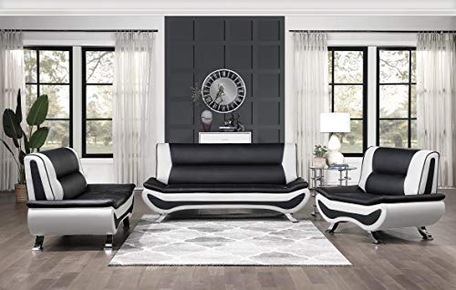 Lexicon Falco 3-Piece Faux Leather Sofa Set, Black and White
