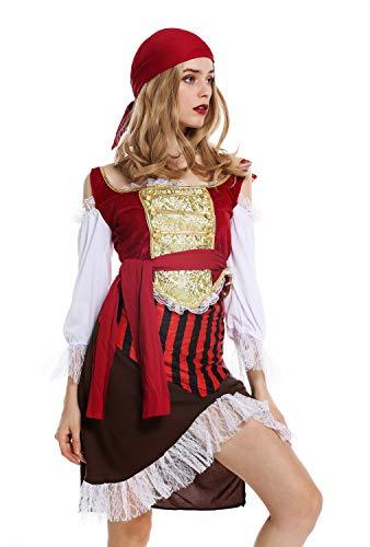 dressmeup - W-0081 Disfraz Mujer Feminino Pirata flibustera bucanera Talla S