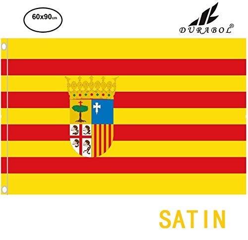 Durabol Bandera de Aragón Comunidades autónomas de España 60 * 90 cm Satin 2 Anillas metálicas fijadas en el Dobladillo