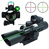 UUQ 2.5-10x40 Clarity+ Combo Rifle Scope Dual Illuminated Mil-dot W/Green Laser and Mini Reflex 3 MOA Red Dot...