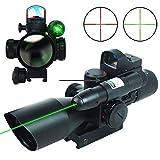 UUQ 2.5-10x40 Clarity+ Combo Rifle Scope Dual Illuminated Mil-dot W/Green Laser and Mini Reflex 3 MOA Red Dot Sight