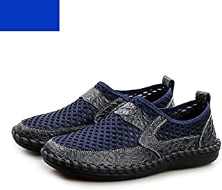 38-50 Oversize Men Mesh Flats Summer Casual Male Loafers Handmade Stitching Soft
