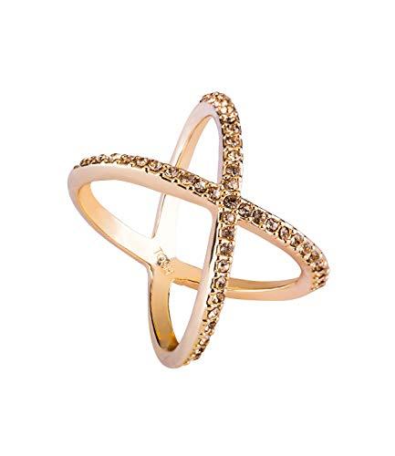 TOSH Überkreuzter goldfarbener Ring mit Strasssteinen Gr. L/58 (365-640)