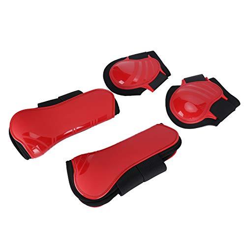 SALUTUYA Botas de Soporte de Caballo cómodas Gruesas para Patas de Caballo de cojín Rojo(Red, A Set of Medium)