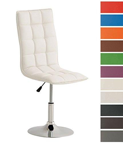 CLP Esszimmerstuhl Peking mit hochwertiger Polsterung und Kunstlederbezug I Drehbarer und höhenverstellbarer Polsterstuhl I erhältlich Weiß