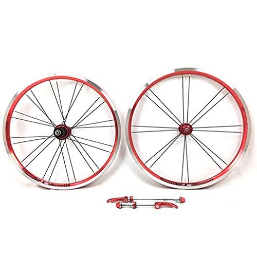 DHMKL 20 Pulgadas Juego de Ruedas para Bicicleta,Juego Ruedas Bicicleta Plegable/Freno En V/8-9-10-11 Velocidades/Delantero 74MM Trasero 130MM/Delantero 16 Trasero 24 Agujeros