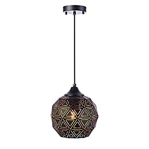 SYDTOP Industrial Mini Pendant Light with Handcrafted Metal Geometric Shape Contemporary 1-Light Rustic Pendant Lighting Fixture for Kitchen Island Dining Room Sink Bar Counter Loft, Matte Black