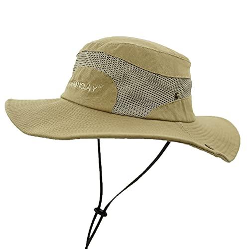 Sombrero para El Sol para Hombre, Sombrero deVerano con Protección UV, Sombrero Safari de Malla Transpirable Ajustable Plegable