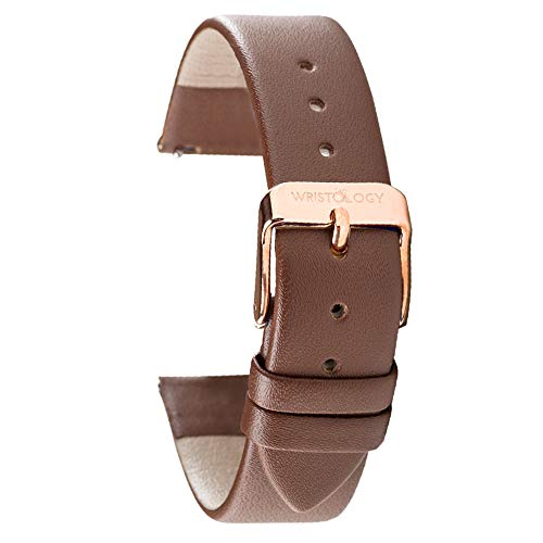Wristology Brown Leather 18mm Watch Band - Quick Release Easy Change Mens | Womens Strap