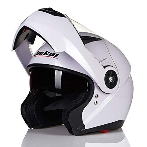 Casque de moto plein air quatre saisons casque unisexe double lentille (Couleur : Blanc-L XL)