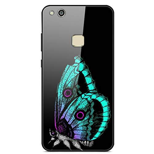 LTao-case YLBL Funda para Huawei P10 Lite Was-LX1 Was-LX2 Was-LX3 WAS-LX1A Funda Cristal Templado + Marco de Silicona 18