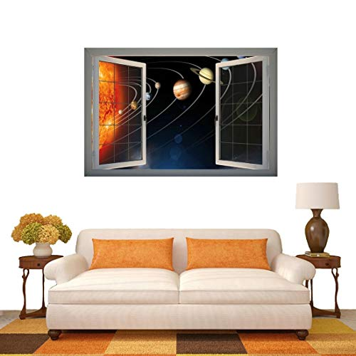 Hmg 3D Universe Planetas Ventana Vista Etiqueta de la Pared removible, tamaño: 66 x 98 x 0.3 cm