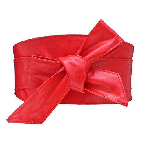 Cityelf Femme Ceinture en Cuir Souple Large Cravate pour Robe Boho Taille Haut Accessoires Taille Migre Ceinture (rouge)