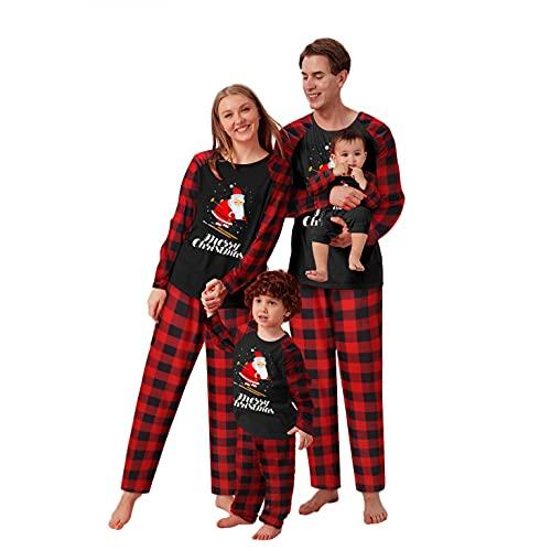 Alueeu Pijamas Navidad para Familias Invierno Otoño Top+Pantalones Ropa de Dormir para Mamá Papá Niños Bebé Casual Homewear Conjuntos Navideños de Año Nnuevo Vacaciones