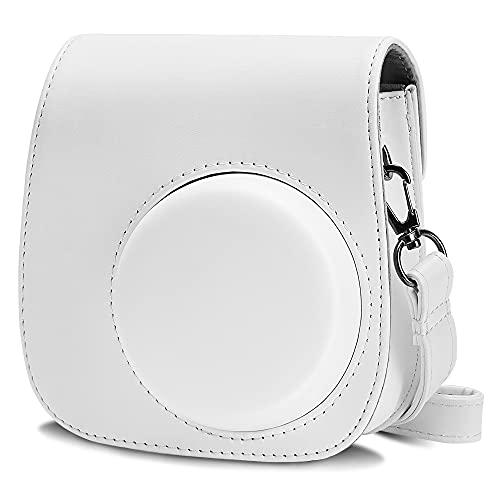 Cpano PU Leder Kameratasche für Fujifilm Instax Mini 11 Sofortbildkamera mit verstellbarem Riemen & Tasche (Weiß)