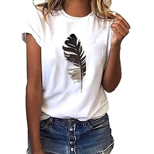 iHENGH Damen Top Bluse Bequem Lässig Mode T-Shirt Frühling Sommer Blusen Frauen Lose Oansatz Spitze der Art und Weisefrauen kurzärmliges Blatt Druck(Weiß, S)