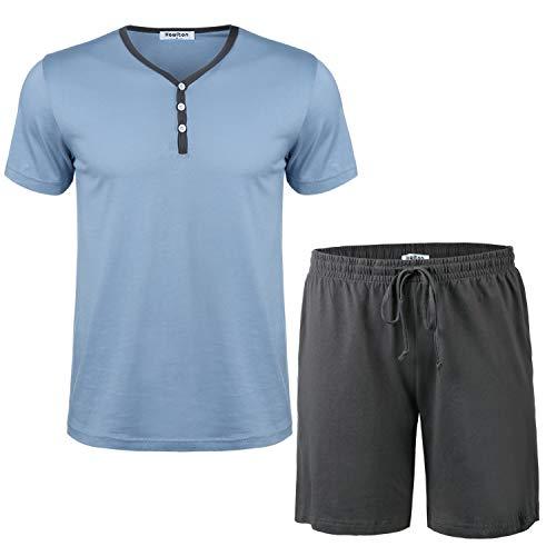 Hawiton Herren Schlafanzug Kurz Pyjama Baumwolle Sommer Nachtwäsche Shorty Schlafoberteil mit Knöpfleiste Blau M