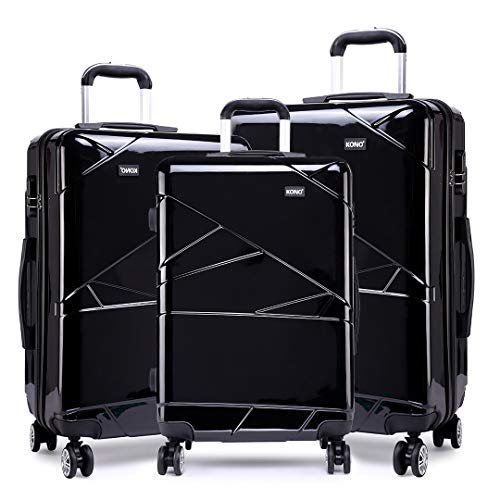 """Kono Black Luggage Set 3 Pieces Light Weight Hard Shell PC Suitcase 4 Spinner Wheel Travel Trolley Case 20"""" 24"""" 28"""""""