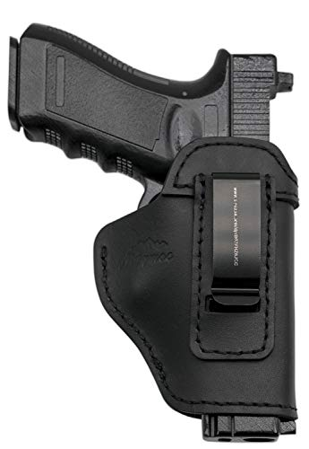MAYMOC Der Defender IWB Leder für S & W M & P Shield - Glock 17 19 22 23 32 33 / Springfield XD & XDS/Plus Alle Handfeuerwaffen gleicher Größe (Recht)