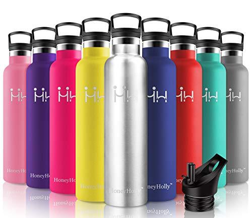 HoneyHolly Botella de Agua Acero Inoxidable sin BPA 1000ml/Acero Inoxidable, Aislamiento de Vacío de Doble Pared, Botellas Frío/Caliente, Reutilizable para Niños, Colegio, Sport, Gimnasio, Bicicleta