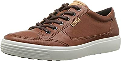 ECCO Men's Soft 7 Long Lace Sneaker, Cognac, 44 M EU (10-10.5 US)