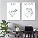 Impresiones en lienzo, póster de Tenerife, mapa artístico de pared, pintura de Gran Canaria, cuadros nórdicos, decoración simple para el hogar de la sala de estar -50X70Cmx2 sin marco