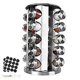 Gobesty Portaspezie con 20 barattoli per spezie, in acciaio inox, girevole a 360°, portaspezie in piedistallo, con contenitore per spezie, portaspezie e portaspezie in vetro