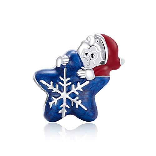 Plata de ley 925 Charm Bead de Papá Noel de Navidad compatible con pulseras Pandora Collar